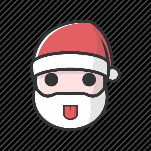 christmas, claus, good, happy, smile, tongue icon