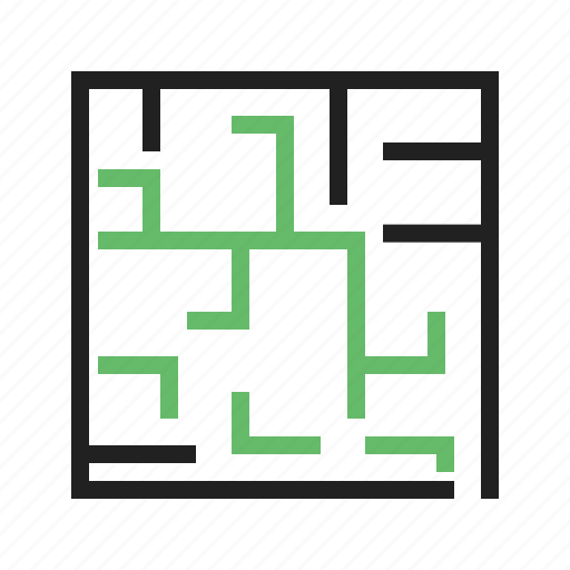 challenge, game, line, maze, puzzle, solution, way icon