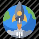 antenna, communication, electronics, launches, rocket, satellite, station icon