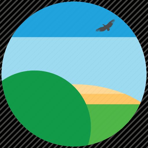 birds, hills, sky, trees icon