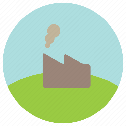 factory, hills, pollution, trees icon