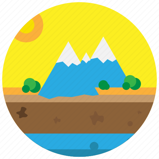 forest, mountains, seashore, sunset, trees icon