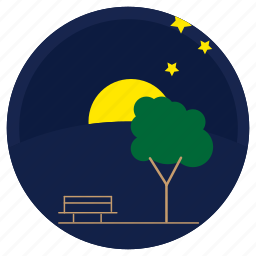 moon, night, sky, stars, trees icon