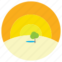 desert, oasis, sand, trees, water icon