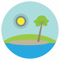 hills, palm, sea, sunset, trees icon