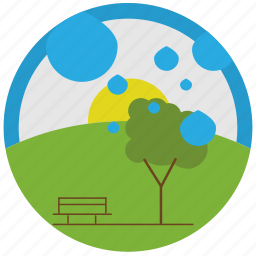 bench, raining, sunset, trees icon