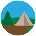 camp, forest, tent, trees