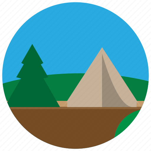 camp, forest, tent, trees icon