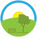 bench, calm, grass, sun, tree, weather icon