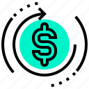 cash, currency, fund, money, rate, return icon