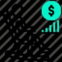 cash, fund, money, plan, rate, retirement, risk icon