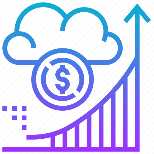 cloud, currency, graph, growth, investment, money icon