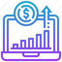 chart, computer, graph, investment, laptop, notebook, value icon