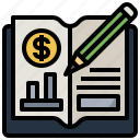 book, business, economics, finance, learning, material, school icon