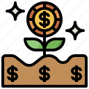 bank, business, dollar, growth, money, nature, plant icon