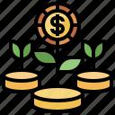 bonus, business, finance, growth, motivation, plant, profit icon
