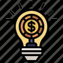 business, dollar, electronics, finance, idea, lightbulb, sign icon