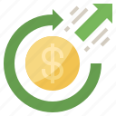 arrows, circular, dollar, investment, on, return, sign icon