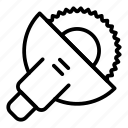 circular, construction, machine, metal, saw, silhouette, work icon