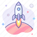 planet, rocket, space icon