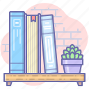 books, library, shelf, study icon