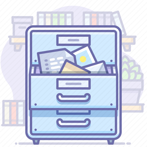 archive, documents, drawer, office, open icon