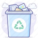 bin, documents, recycle icon