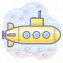 sub, submarine, underwater, yellow icon