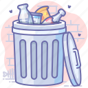 bin, can, full, trash icon