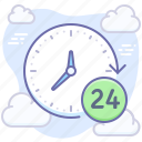 24 hours, support, working time icon