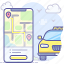 route, mobile, app, taxi
