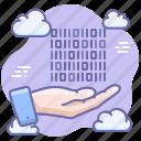 hand, data, digital, share icon