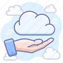 share, data, hand, cloud icon