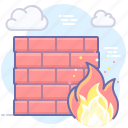 wall, fire, security, firewall icon