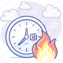 fire, time, deadline, clock icon