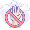 do not touch, prohibited, hand icon