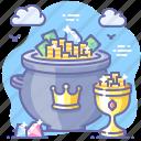 pot, golden, cup, crown, premium, gold icon