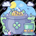 clover, leprechaun, pot, hat, gold icon