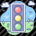 traffic, lights, permission icon