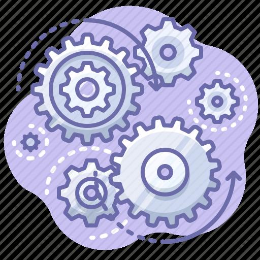 Control, process, gears icon