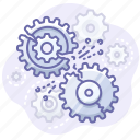 error, gears, process icon