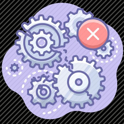 error, gears, process icon