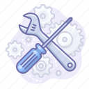 control, gears, screwdriver icon