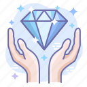 diamond, hands, present icon