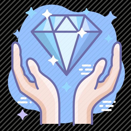 diamond, hands, present icon