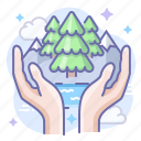 care, hands, nature icon