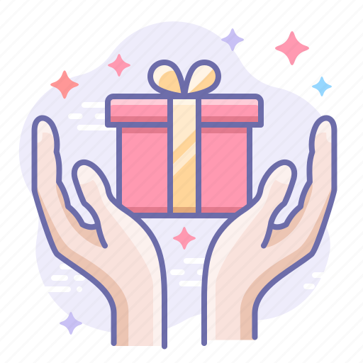gift, hands, present icon