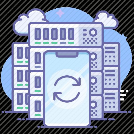 server, smartphone, sync icon