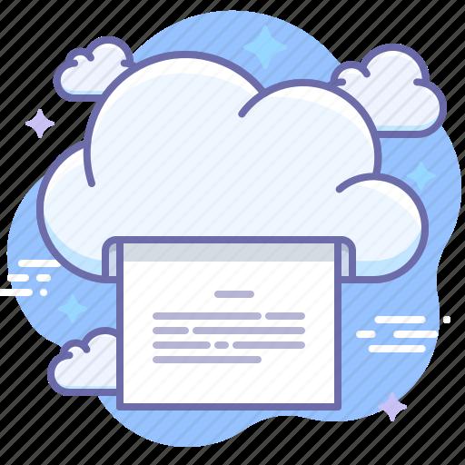 cloud, document, print icon