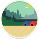forest, hut, landscape, village, scenery, nature, trees icon